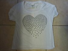 "VICTORIAS SECRET PINK BLING STUDDED HEART ""PINK"" CUFFED SCOOPNECK CREW TEE NWT"