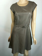 Joie Brown Leather A-Line Belted Cap Sleeve Dress Fit & Flare Sz XS
