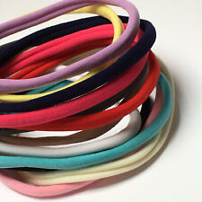 Pack of 5 Nylon Skinny Elastic Headbands - 12 colours to choose from