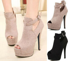 Sexy Womens Platform Pump Peep Toe High Heels Ankle Boot Party Shoes Beige/Black