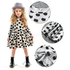 Summer Baby Girls Long Sleeve Gray Skirt Kids Black Cats Printed Dress For 1-6Y