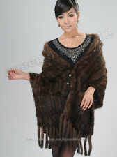 100% Real Knitted Mink Fur Scarf Stole Shawl Wrap Cape Women Evening Fashion