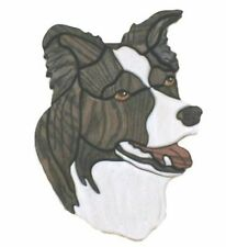 "Silver Creek BORDER COLLIE Intarsia Oak Dog Wood Carving ~ 8"" X 13"" ~ Customize"