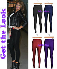 NEW WOMENS SHINY HIGH WAISTED STRETCHY DISCO DANCE LEGGING PANTS UK 8- 14