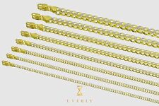 """3-11mm 14k Semi-Solid Two Tone White Pave Cuban Yellow Gold Chain Necklace16-30"""""""