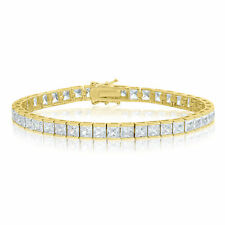 14k Gold Plated Square Princess Cut 4x4mm AAA Cubic Zirconia CZ Tennis Bracelet