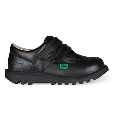 Infants Kickers Kick Lo Velcro Black Leather Shoes