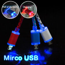 LED Light V8 Micro USB Cable Data Sync Charger Cord Braided For Android phone