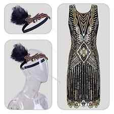 1920s Flapper Gatsby Charleston Beaded Sequin Dress Roaring 20s Costume 4-16