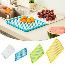 Useful Kitchen Plate Dish Plastic Mesh Grid Design Draining Board Holder+Tray