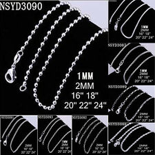 10pcs 1mm 2mm 925 Sterling Silver Woman Men Rope Snake Chain Necklace 16-20inch