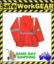 Hi-Vis Orange Rain Jacket with Reflective Tape Wet Weather Gear Garment