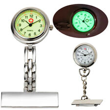 Luminous Dial Nurse Doctor Brooch Clip Fob Pendant Quartz Pocket Watch