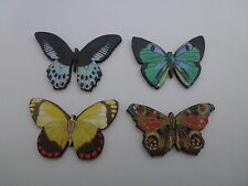 COLOURFUL WOODEN BUTTERFLY BROOCHES PINS RED YELLOW GREEN BLUE BUTTERFLIES