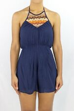 Crochet Halter Neckline Jumpsuit Romper Playsuit Summer Navy Shorts One Piece