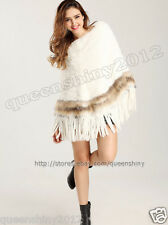 New100% Real Knitted Rex Rabbit Fur Poncho Cape Stole Shawl Coat Outwear Tassels