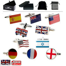 Men's Country Flag Cufflinks, Union Jack, USA German French etc & Gift Box/Pouch