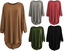 New Ladies Womens Long Loose Fit Hi Lo Knitted Jumper Oversized Batwing Top
