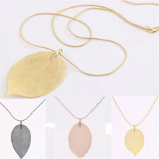 Fashion Elegant Lucky Leaves Leaf Pendant Statement Necklace Long Sweater Chain