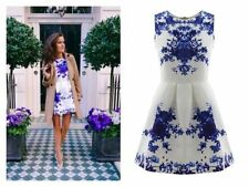ZARA'S BOUTIQUE BLUE AND WHITE FLORAL JACQUARD SUMMER SKATER DRESS - SIZE 10