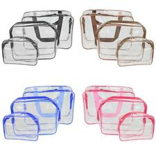 Pack of 3-Size Transparent Makeup Cosmetic Bag Travel Toiletry Organizer Handbag