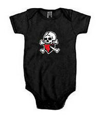 Baby Pirate Skull & Heart Sleeper One Piece Size 3m-24m Black and Pink - yarrrr!