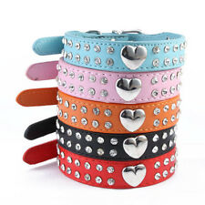 Bling Rhinestones Crystal Heart Leather Collar Adjustable Pet Dog Cat Puppy hk
