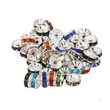 6/8/10mm Wholesale 50pcs Rondelle Crystal Rhinestone Spacer Beads Jewelry Craft