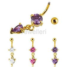 Heart Rhinestone Crystal Dangly Navel Belly Button Bar Ring Body Piercing Gold