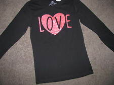 BNWT GIRLS BLACK LONG SLEEVED TSHIRT SIZE 10 12 14  TOP LOVE SPARKLY HEART