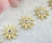 26mm Beige Pearl And AB Rhinestone Chain Trims Sewing Costume Applique LZ79