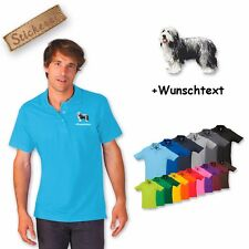 Polo Shirt Cotton Embroidery Dog Bearded Collie + Text of your choice