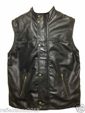 Motorcycle Leather Dress Vest Waistcoat Fashion Biker Rider Soft Real Leather