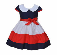 New Baby Girls Red Blue and White Summer Dress 3 6 9 12 18 Months