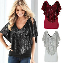 2016 Summer Womens V Neck Loose Sequin T Shirt Blouse Batwing Sleeve Casual Tops