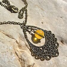 Natural Citrine flowery charm necklace