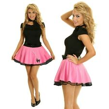 Womens Pink Ladies 1950s Grease Poodle Bopper Fancy Dress Costume Outfit