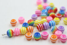 100/200Pcs Mixed Colorful Round Acrylic Loose Spacer Beads Jewelry DIY 6mm 8mm