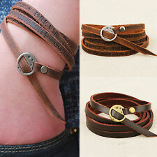 Fashion Hot Unisex Tribal Women/Men Surfer Multilayer Leather Wrap Cuff Bracelet