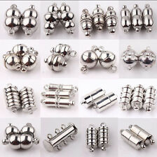 10 Set Silver Plated Tube Barrel Round Strong Magnetic Clasps Jewelry Finding