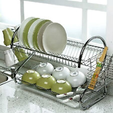 2 Tier Stell  Dish Drainer Cup  Rack Tray Plate Holder Organizer Kitchen Tool