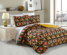 DaDa Bedding Bohemian Floral Garden Honey Yellow Brown Quilted Bedspread Set