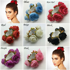 Women Flower Headwear Garland Headband Bridal Scrunchie Girl Elastic Hair Band