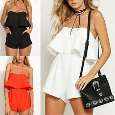 Women Sexy Celeb Strapless Bandeau Playsuit Party Evening Summer Romper Jumpsuit