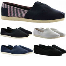 Womens Espadrilles Pumps Canvas Trainers Deck Plimsolls Slip on Shoes Size