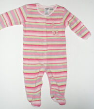 Size 0 - Baby Girls OshKosh Winter Pink Stripe Fleece Onesie Romper