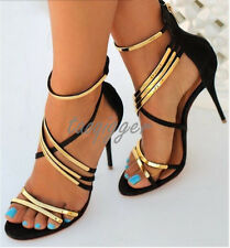 Womens Ladys Gold Chain Sheep Leather Stiletto Party Shoes High Heels Pumps Size