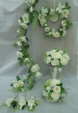 Artificial Cream Rose Wedding Flowers - Bridal Bouquets, Garland, Heart & more