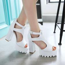 All US SZ Womens Block Chunky Heels Hollow Out Open Toe Platform Sandals Shoes