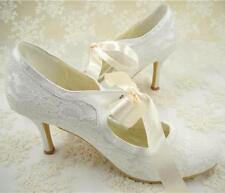US7.5 Heel 7cm Ivory Lace Bridal Mary Janes Heels Satin Lace up Wedding Heels